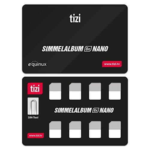 equinux tizi Simmelalbum 8X Nano - Nano SIM Karten Sammelalbum (SIM Organizer) für 8 Nano SIM Karten, inklusive SIM Auswurf-Pin (Nano Case Sim)