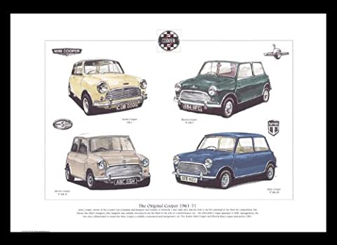 Mini Cooper 1961–1971–Austin Cooper MK1, Morris Cooper S, mini cooper S MK2, MK3–Art Print