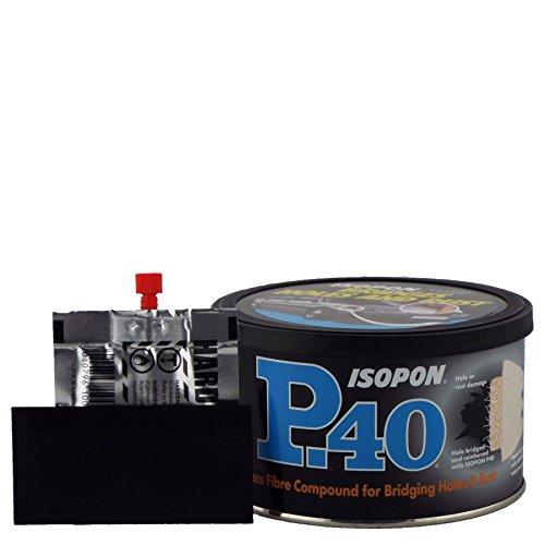 U-POL Isopon P40 en fibre de verre Bodyfiller 250 ml utilisé sur Bare en acier et les réparations Original Peinture endommagés Corps Panneaux très résistant imperméable à l'eau Peut être Plus Painted