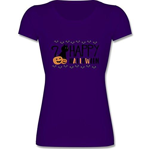 Sprüche Kind - Happy Halloween - 128 (7-8 Jahre) - Lila - F288K - Mädchen T-Shirt (Beliebte Teenager Halloween Kostüme)