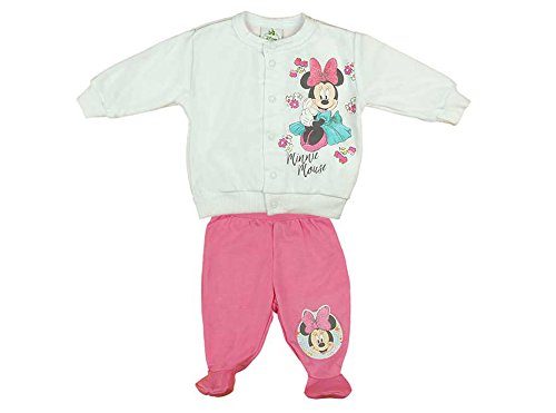 Minnie Mouse Mädchen Baby-Set bestehend aus Wagen-Jacke und Hose mit Füßchen weiss und rosa in GRÖSSE 56, 62, 68, 74, Baby-Jacke ohne Kapuze, Baby-Jäckchen mit Druck-Knöpfen Size (Disney Baby Kleidung)