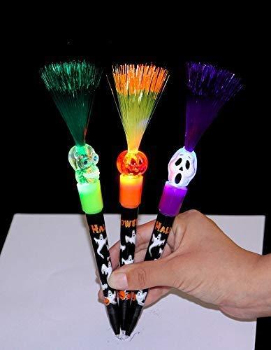 MSAI 5 x Halloween-Stifte, kreative Schreibwaren, Requisiten Kürbis Geisterkopf Hexe Licht Stift
