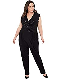 30acde502d98 Debenhams The Collection Womens Black Sequin Plus Size Jumpsuit