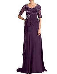 Topkleider Damen Rund Chiffon 2017 Brautmutterkleider Lang Abendkleider  Partykleider mit Kurzarm 31b2ac4cb2
