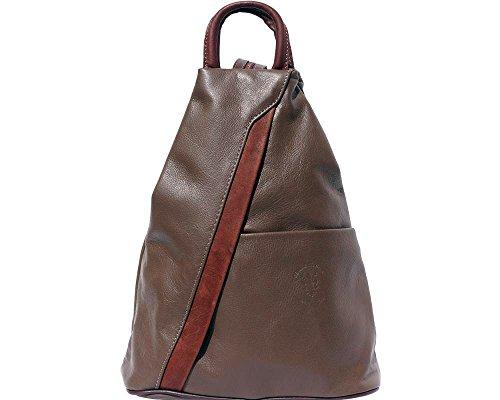 Rucksack und Schultertasche aus weichem, italienischen Leder, mit umkehrbarem Reißverschluss Dark Taupe with Brown
