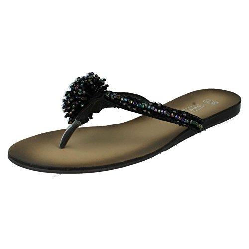Mesdames Spot sur Sandales Style–f0474 Noir - noir