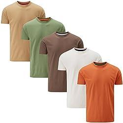 Charles Wilson 5er Packung Einfarbige T-Shirts mit Rundhalsausschnitt (Medium, Mixed Earth)