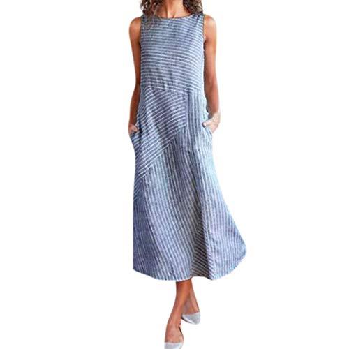 Cool, Sommer Kleid (Obestseller Damen-Kleider Damen Sommer Schulterfrei Businesskleider für Damen Lässiges, ärmelloses Kleid aus Baumwolle und Leinen mit Rundhalsausschnitt für Damen)