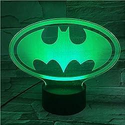 3D Nachtlicht Lampe, 3D Nachtlicht Amroe Dc Justice League Marvel Batman Symbol Farbwechsel Kind Kinder Tischlampe Geburtstag Xm Spielzeug Geschenke