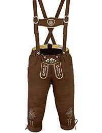 Damen Trachten Kniebundhose Jeans Hose kostüme mit Hosenträgern Braun