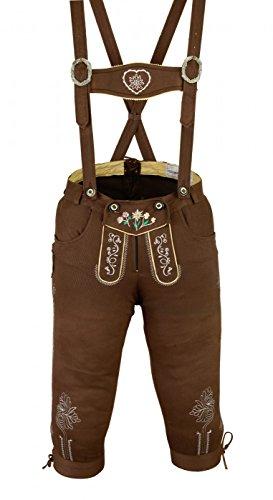 Damen Trachten Kniebundhose Jeans Hose kostüme mit Hosenträgern Braun, Größe:36