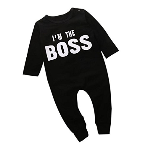 BURFLY I'm The Boss Long Sleeve Romper Jumpsuits For Baby Boy (18Months)