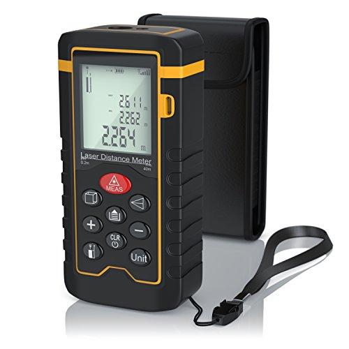 Brandson - Laser Entfernungsmesser | Laser Distanzmessgerät | Messung von Distanz, Flächen, Volumen | bis zu 40m | Messeinheit in Meter, Zoll, Fuß | LCD-Display mit Hintergrundbeleuchtung
