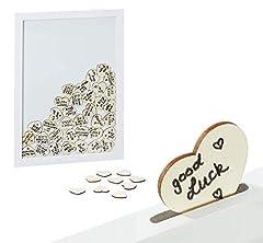 Idea Regalo - Brandsseller libro degli ospiti per matrimonio, compleanno, ricordi con 80 cuori in legno da scrivere