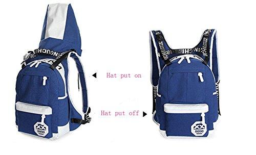 echofun Casual Leichte Canvas Laptop-Tasche Schule Rucksack mit Kapuze Reisen Rucksack Tagesrucksack Hat entfernt werden kann Blau