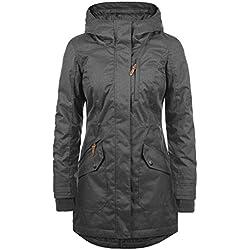 Desires Bella Parka De Entretiempo Abrigo Chaqueta para Mujer con Capucha, tamaño:M, Color:Dark Grey (2890)