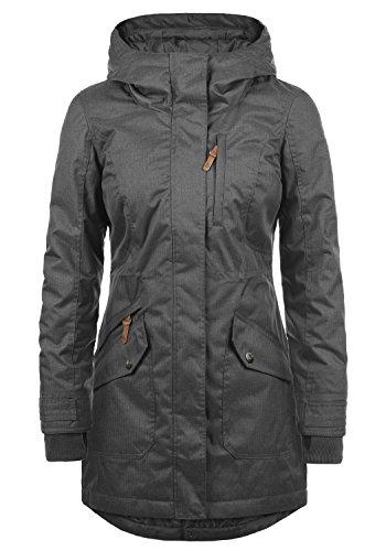 DESIRES Bella Damen Übergangsparka Parka Übergangsjacke Lange Jacke mit Kapuze, Größe:L, Farbe:Dark Grey (2890)