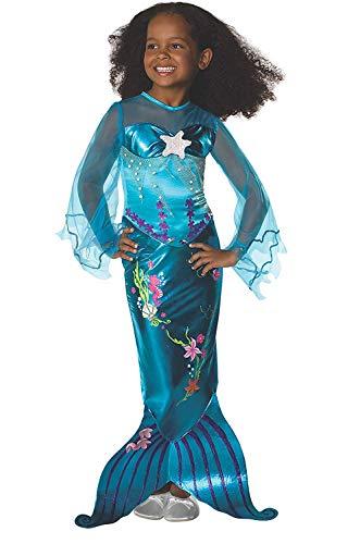 Tante tina vestito da sirena per bambina - costume da sirena con gonna rasoterra e spacco posteriore per un maggiore movimento - blu - taglia s ( 116 ) - indicato per bambini dai 4 ai 6 anni