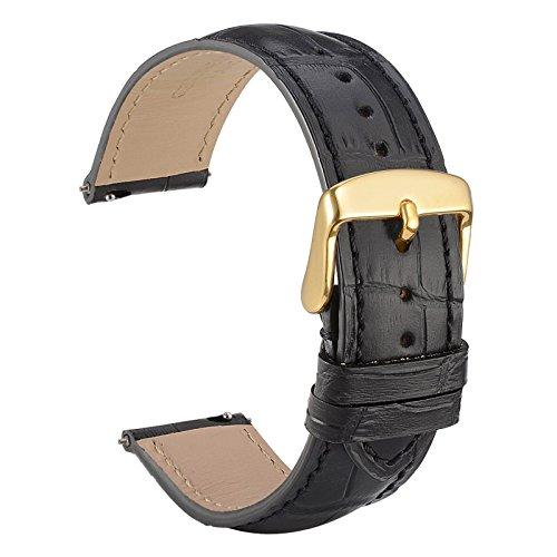 WOCCI Quick Release Uhrenarmbänder 20mm Schwarz Alligator Geprägt Leder Armbanduhr Bands mit Gold Schnalle