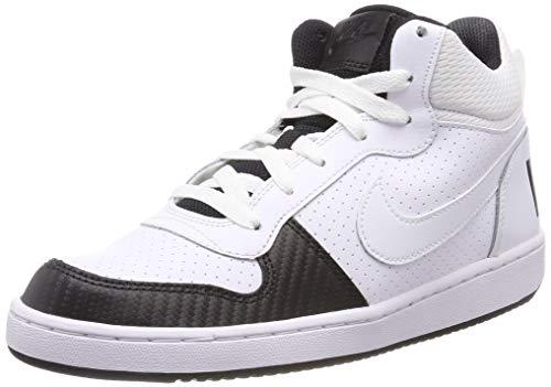Nike Mädchen Court Borough Mid Basketballschuhe, Weiß White/Black 106, 35.5 EU (Weiße Nike Boys Sneakers)