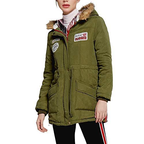 OverDose Damen Outdoor Fashion Style Womens Warme Lange Mantelkragen Mit Kapuze Jacke Schlank Winter Parka Outwear Mäntel Schnee Sport Karneval Sweatblazer