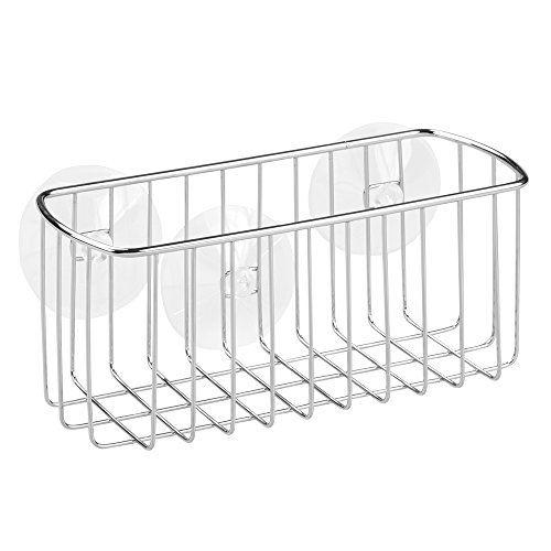 InterDesign York Bathroom Shower Shelf, Suction Shower Basket without Drilling, Made of Metal, Chrome
