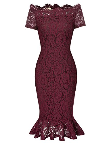 GRACE KARIN Off Shoulder Lace Party Dress 50s Midi Bodycon Mermaid Wedding Guest Dress
