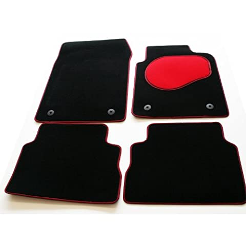 Tailored Custom Fit Black Luxury Velour Carpet Car Mats for Alfa Romeo Mito (2008 Onwards) - Red Protection Heel Pad & Neat Red/Black Twin Edge Trim
