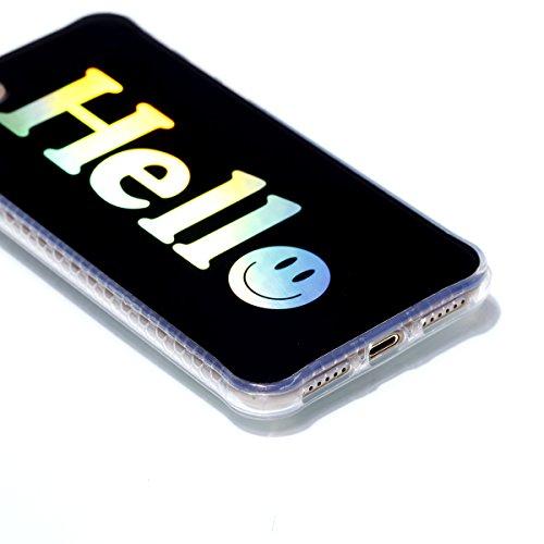 Apple iPhone 7 4.7 Hülle, Voguecase Schutzhülle / Case / Cover / Hülle / Plating TPU Gel Skin (Schwarz-Buntes Muster 02) + Gratis Universal Eingabestift Schwarz-Hello 01