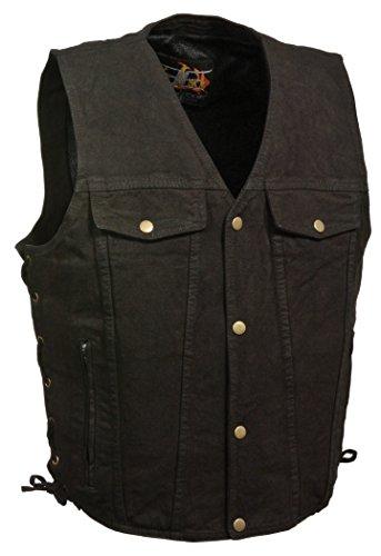 Herren BLK Classic 4Snap Button mit Seite Spitze Denim Weste mit Brusttaschen Snap Front Denim