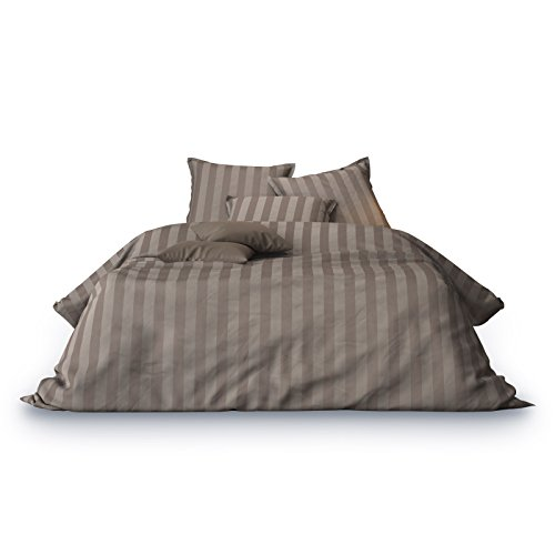 Matrazzo Bettwäsche, Mako-Satin 100% Baumwolle, 135x200 cm + 40x80 cm, Braun, Unifarben, Jacquard -