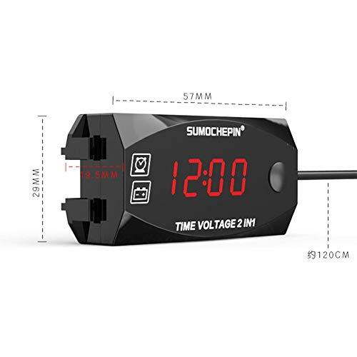 HUVE 2-en-1 voltímetro Digital para vehículo eléctrico Moto Reloj multifunción con Pantalla...