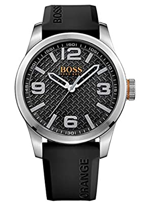 Hugo Boss Orange Paris Men's Quartz Analogue Classic Black Silicone Strap 1513350