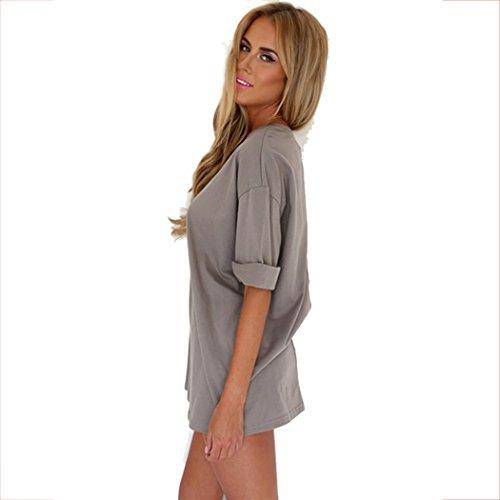 ZEARO Casual Damen Lose T-shirt Tops Minikleid Strandkleid Shirtkleid Blusekleid Grau