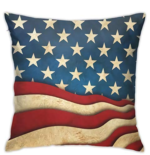Cold-pack Case Pack (DEFFWB Custom Pack Vintage American Flag Throw Cushion Pillow Case Covers 18x18 Star Stripe USA Patriotic Cotton Zippered Pillowcase Sets Decorative)