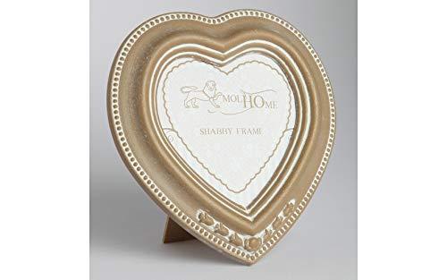 Cornice portafoto a cuore shabby in legno colore tortora, cm 15 x 16