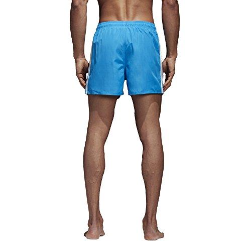 adidas Herren 3-Streifen Very Short Length Badeshorts Bright Blue/Off White