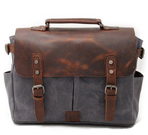 YOJAP Unisex Vintage Canvas Umhängetasche Schultertasche Messenger Bag für Reise Sport Freizeit Grau