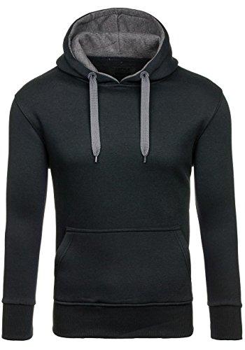 Und 1 Pullover (BOLF Pullover mit Kapuzen Zeitlos J.STYLE 2075-1 Schwarz-Dunkelgrau XL [1A1])