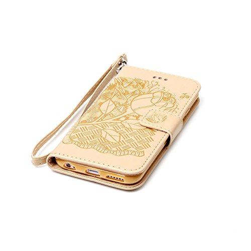 """MOONCASE iPhone 6 Plus / 6S Plus (5.5"""") Étui, Rose Relief Motif Protection en PU Cuir Folio Housse Béquille Etui à rabat Case Cover avec Porte-cartes Fentes Portefeuille Béquille Fermeture Magnétique  Doré"""