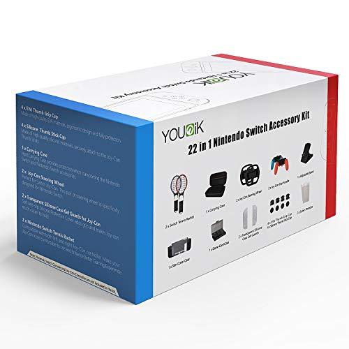 22 in 1 Zubehör-Kit für Nintendo Switch - Younik Tragetasche / Rad / Schläger / Gel Pads / Displayschutz / Stand / Spielkartenkasette / Schutztasche / Halt / Kappen für Nintendo Switch Konsole