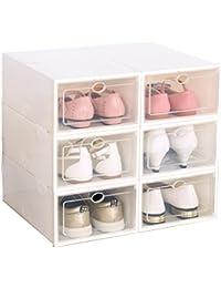 Homme Rangement Chaussures, Lot de 6 Boîte à Chaussure de Rangement pour Hommes/Femmes, Blanc
