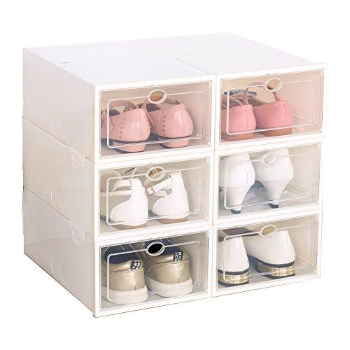 Set von 6 Schuhboxen, Schuh aufbewahrungsboxen, Schuhschachtel, Schuhaufbewahrung, Schuhkasten (Weiß)