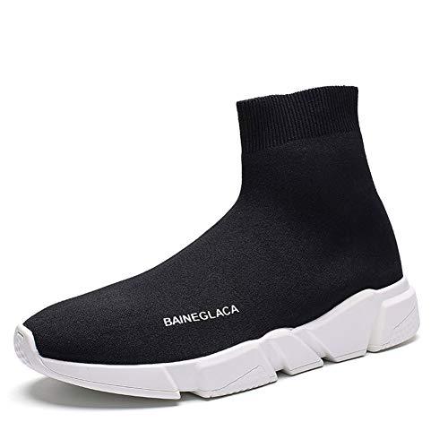 Hommes Femmes l'hiver Neige La Mode Baskets Poids léger Chaud Doublé de Fourrure Casual Athlétique Chaussures de Course Tricoté Chaussettes Chaussures Noir Blanc 38 EU