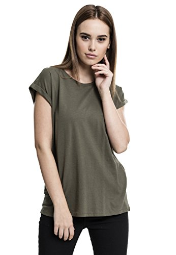 Urban Classics Damen T-Shirt Ladies Extended Shoulder Tee, Farbe Olive, Größe XS
