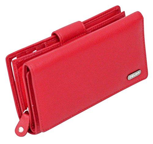 Felda portafoglio RFID da donna - 19 fessure per carte - vera pelle - multicolore - rosso