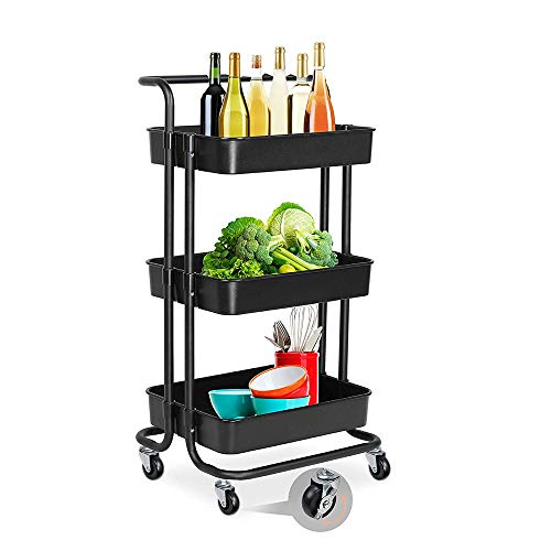Angel 3-Tier Roll Utility Cart, Gitterkorb Standregal, Hochleistungsspeicherorganisator, Kann Sich bewegen, mit Griffen und Rädern, Geeignet für den Heimgebrauch Stahl-utility-box