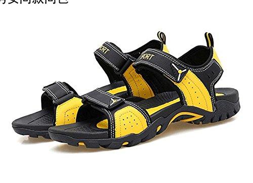 SHUNLIU Herren Sandalen Trend Sport Sandalen Outdoor Schuhe Sandaletten Kühlen Sommer Schawrz-Gelb