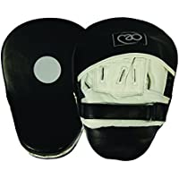 Boxing-Mad Curved Leather Hook & Jab Pads - Black/White