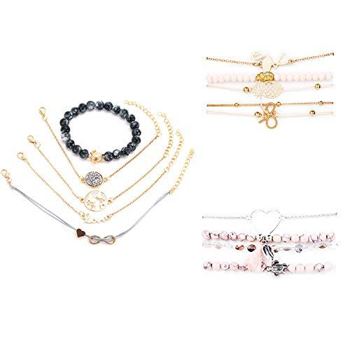 Damen Armband,Böhmisches Mehrschichtiges Armband Gesetzte,Flamingo,Ananas,Schmetterling,Karte,Schildkröte,Muschel,etc. Damenmode Armband,Mit einer schönen Geschenkbox(3 Sätze,14 Stück)